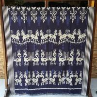 kain tenun atbm blangket jepara motif etnik sumba ntt-biru navy