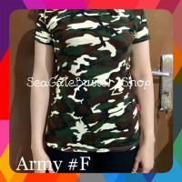 Kaos Army - Kaos Wanita - Baju Atasan Wanita - Kaos Loreng