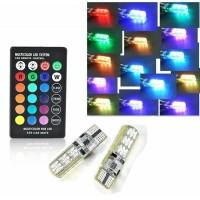 2 Pcs LAMPU SENJA LED RGB T10 5050 SMD 16 WARNA MOTOR MOBIL REM Remote