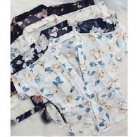baju tidur kimono sexy lingerie gstring Bahan sifon dicetak A187-2