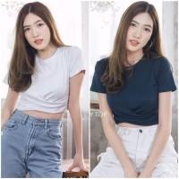 Kaos Crop Top Wanita Kerut Bawah Import Croptop Impor Murah