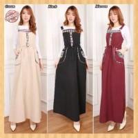 baju jamsuit overall wanita longdress muslim sigaret jumpsuit maroon