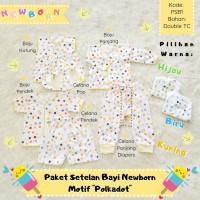 Paket Setelan Baju + Celana Bayi Newborn Motif Polkadot