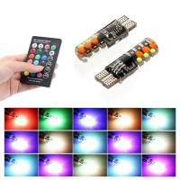 2PC LAMPU SENJA T10 LED RGB 5050 SMD 16 WARNA PLUS REMOTE