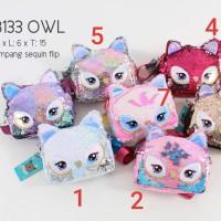 tas selempang anak perempuan sequin owl sling bag
