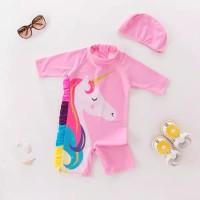 Baju renang unicorn anak perempuan 1-7thn satu set dengan topi