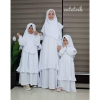 BA 24 Baju Muslim Gamis Couple Ibu Anak Manasik Haji Cutetrik White