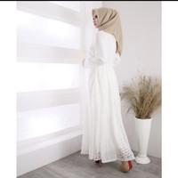 Baju Gamis putih brukat / baju muslim wanita menawan