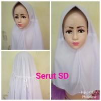 Jilbab Anak Kaos Super Sekolah Serut Putih SD