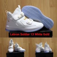 SEPATU BASKET NIKE LEBRON SOLDIER 13 WHITE GOLD GRADE ORIGINAL
