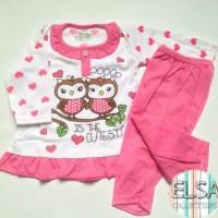 Piyama / Baju Tidur Anak Perempuan Usia 6-15 Bulan Motif Renda Love