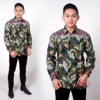 kemeja semi sutra/baju batik pria lengan panjang/atasan batik murah