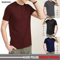 baju kaos polos henley baju kancing pria merah maroon