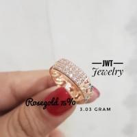 Cincin Emas Fashion Sisik Naga Plat Mata size 9 Rosegold 75 - 17-18