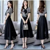 [Dress ELVIA Black RO]Dress wanita twiscont Black