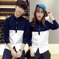 kemeja couple pasangan pria wanita korea hem tunik shirt sepasang