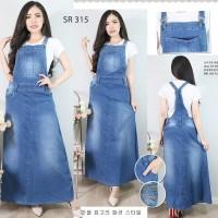 Baju Overall Dress Jumpsuit Rok Kodok Polos Panjang Bahan Jeans Lentur