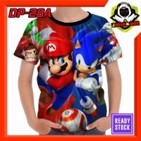 Kaos Sonic VS Mario Bross Baju Anak Murah tokoh kartun