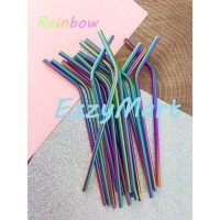 SEDOTAN STAINLESS STEEL LURUS & BENGKOK STRAW METAL RAINBOW
