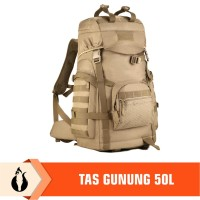 Tas Camping Kapasitas 50L Hiking Backpack Waterproof - Hitam