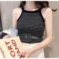 [Tantop Dora Stripe Rajut Black BC]Tank top wanita rajut Stripe Black