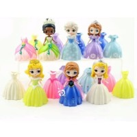 Princess Frozen Sofia Ganti Baju 6 Figure 18 Dress Mainan Topper FG553