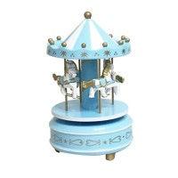 Merry-Go-Round Wooden Music Box Toy Child Baby Game Home Decor Carouse