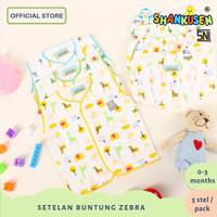 3 Set Setelan Buntung Baju Bayi Shankusen Zebra&Giraffe (3 pasang)