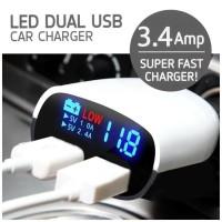 Car 2 USB Port Super Fast Charger LED USB 3.4A Charger HP Di Mobil