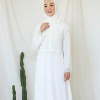 Baju Gamis Brukat Putih / Baju Muslim / Dress Muslim Putih #9476 - Putih Tulang, L