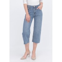 "ODIVA ""DAVI CROPPED JEANS BLUE"" Celana Jeans Crop Biru Wanita"