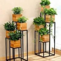 rak bunga minimalis 4 pot
