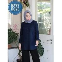 Blus muslim polos tunik baju atasan wanita /SIZE JUMBO NAVY