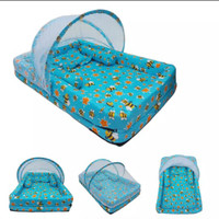 kasur bayi set kelambu bantal guling model kolam lebah biru