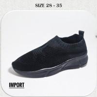 Sepatu Anak Sekolah Slip On Rajut hitam Polos SPC25 Import TK SD
