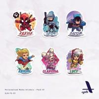 50 PCS - Stiker Label Nama Tema Superhero - 01 - Laminasi - Waterproof