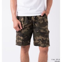 Celana pendek cargo army camo pria short pants pinggang karet SP18