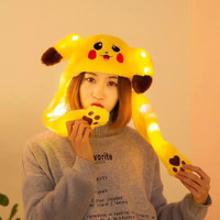 topi kuping pikachu lampu led Bando gerak Goyang kupluk pikacu pokemon