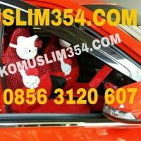 Sarung Jok Mobil 18 in 1 Hello Kitty Merah Hitam full set agya ayla