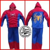 Kostum Busa Anak Spiderman Otot Baju Superhero Setelan Ultah Karakter