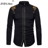 EU size Men's Casual Long Sleeved shirt stand neck Chinese style tops