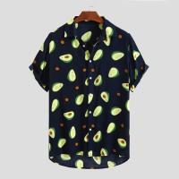 Fluorescent Color Men Shirt Summer High Quality Breathable Hawaiian Sh