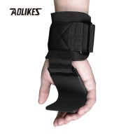 Aolikes 7643 Wrist band Grip Hook - Strap Gym Fitness BLACK