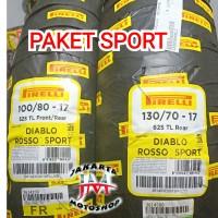 PAKET Ban Tubless Pirelli Diablo Rosso Sport 100/80 & 130/70 Ring 17