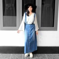 Baju Overall Rok Kodok Jumpsuit Panjang Full Kancing Jeans Original