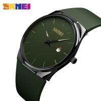 Jam Tangan Pria / SKMEI 1509 Soft Band Analog DATE / ARMY GREEN
