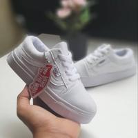 Sepatu Vans Anak Old Skool Putih Polos Tali