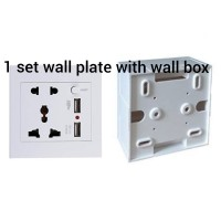 face plate/wall plate USB + Power AC + on off switch + box outbow pvc