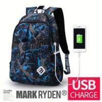 Mark Ryden Tas Ransel Laptop dengan USB Charger Port - MR6008 - Blue