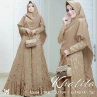 Gamis / Baju / Dress Setelan Wanita Muslim Khalila Syari Brukat HQ